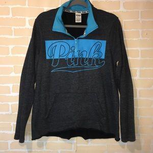 Pink vs half zip pullover hoodie blue size Meduim